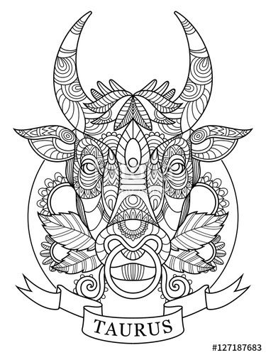 375x500 Taurus Zodiac Sign Coloring Page For Adults Fotolia