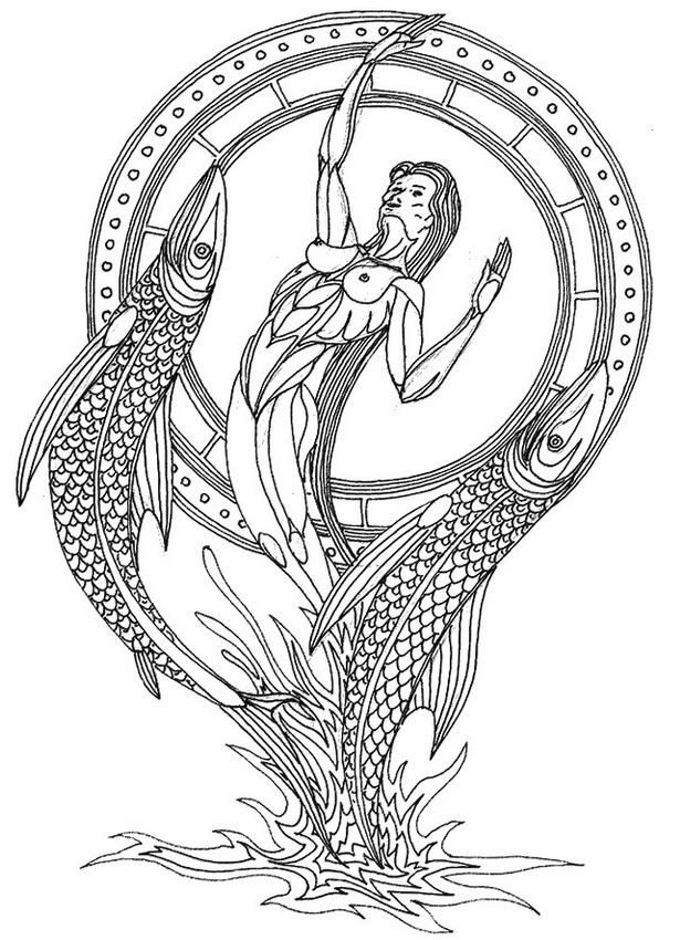 615x850 Adult Coloring Page Astrology Pisces