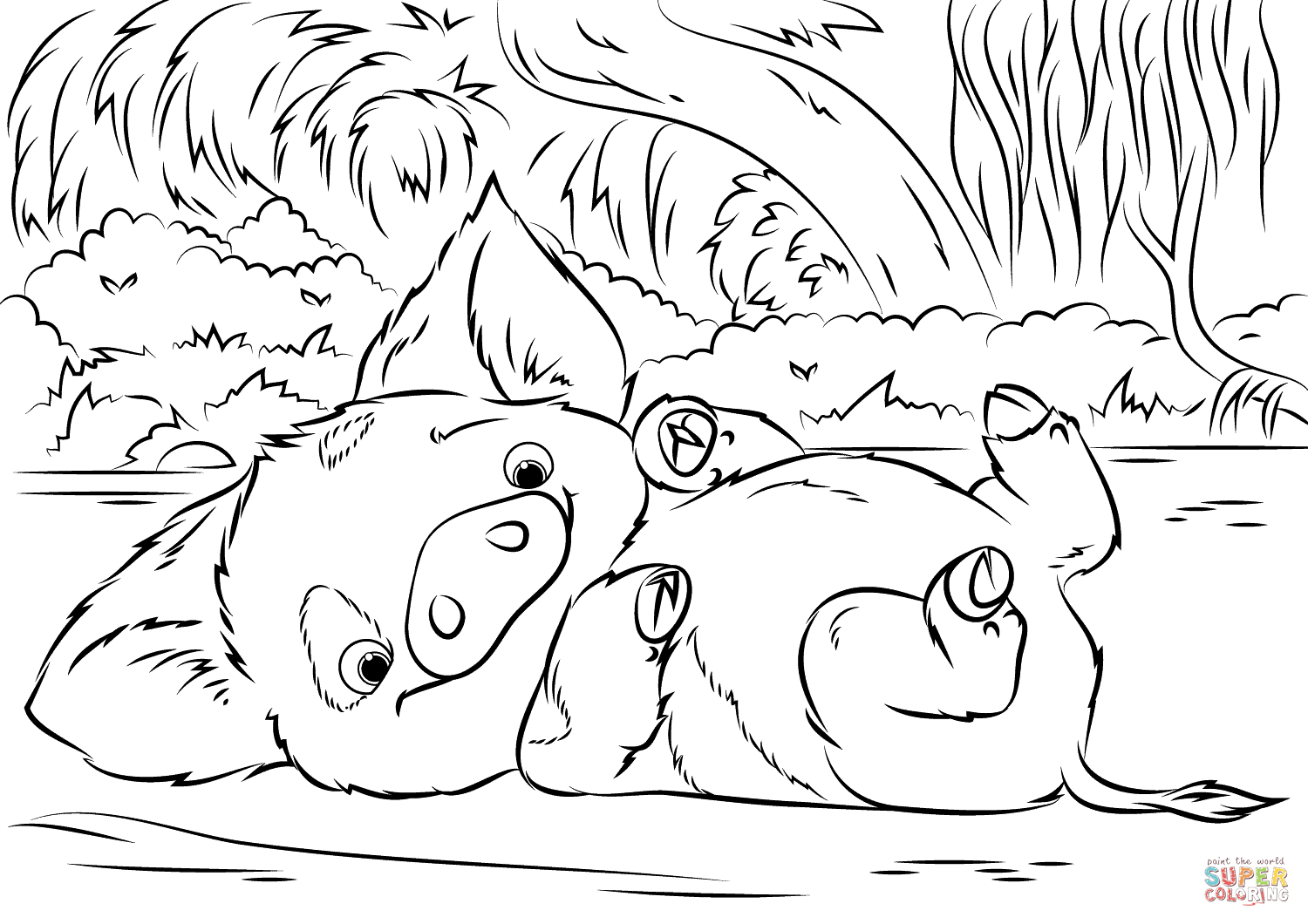 1500x1060 Pua Pet Pig From Moana Coloring Page Free Printable Coloring