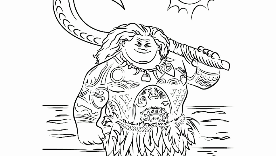 960x544 Maui Coloring Pages Stock Moana Coloring Page Free Printable Pages