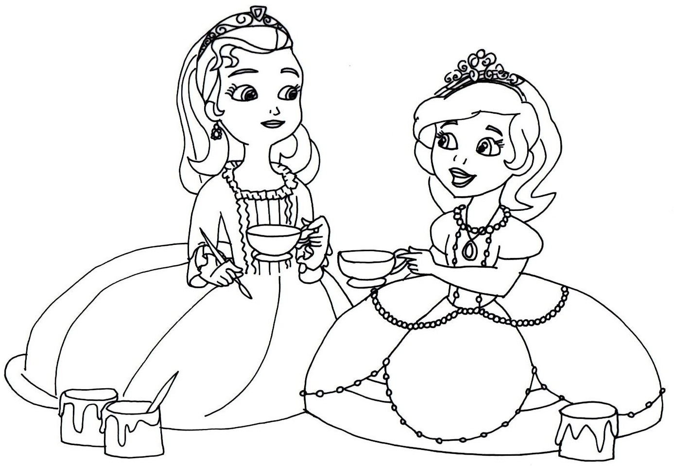 1387x959 Tea Party Coloring Pages Coloringsuite Com With Qqa Me