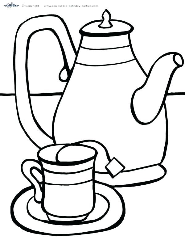 600x777 Coloring Tea Cup Coloring Page Pages Teapot Print And Saucer Tea