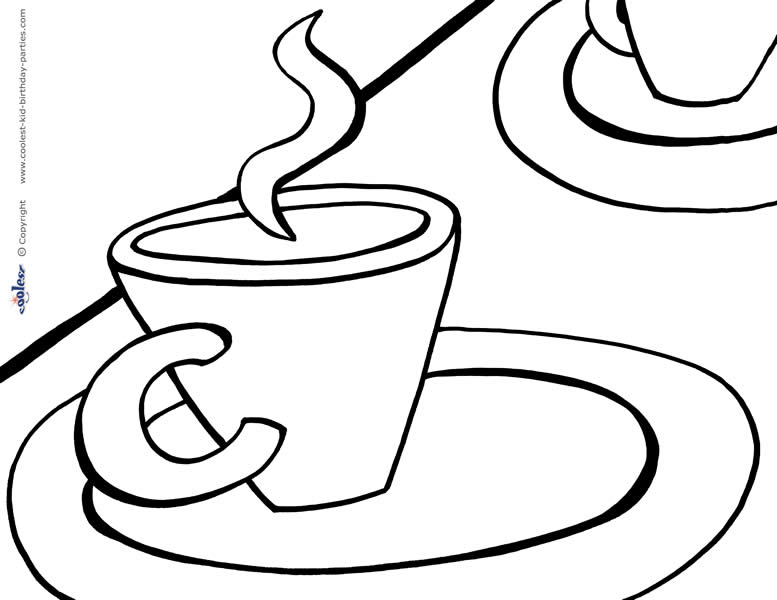 777x600 Printable Tea Party Coloring Page