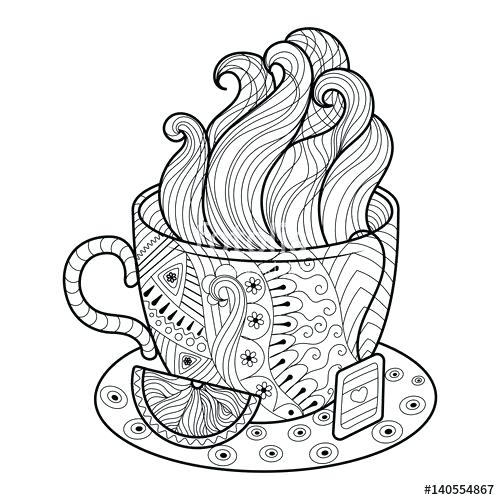 Tea Cup Coloring Page At Getdrawings Com Free For Personal Use Tea