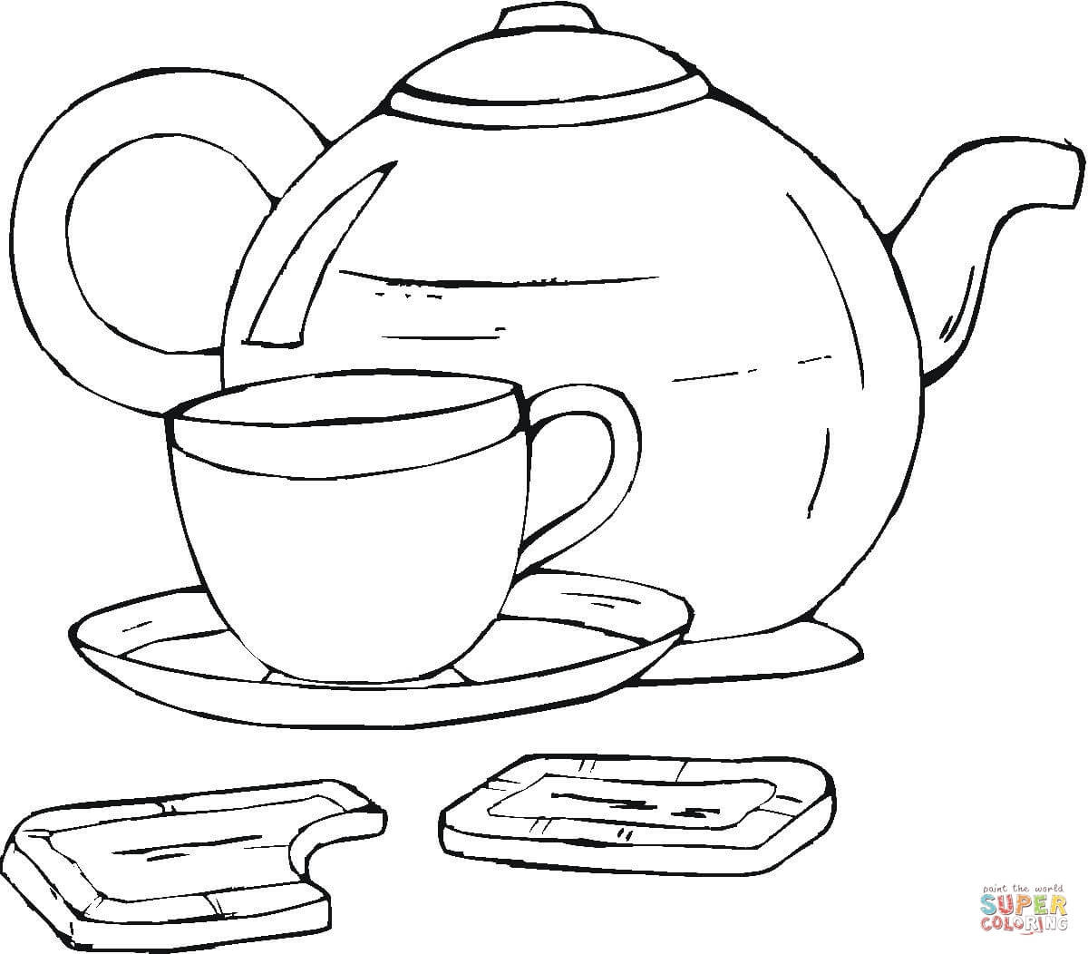 1200x1052 Tea Cup Coloring Page Free Printable Pages Noticeable