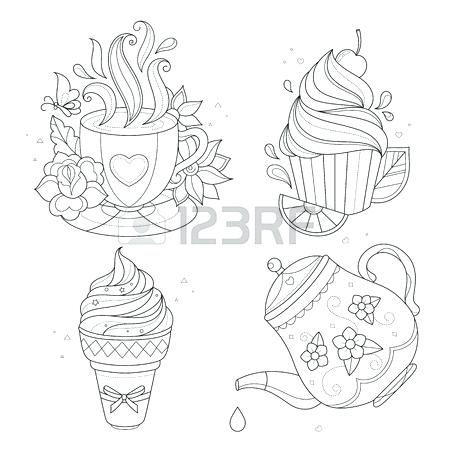 450x450 Tea Cup Coloring Page