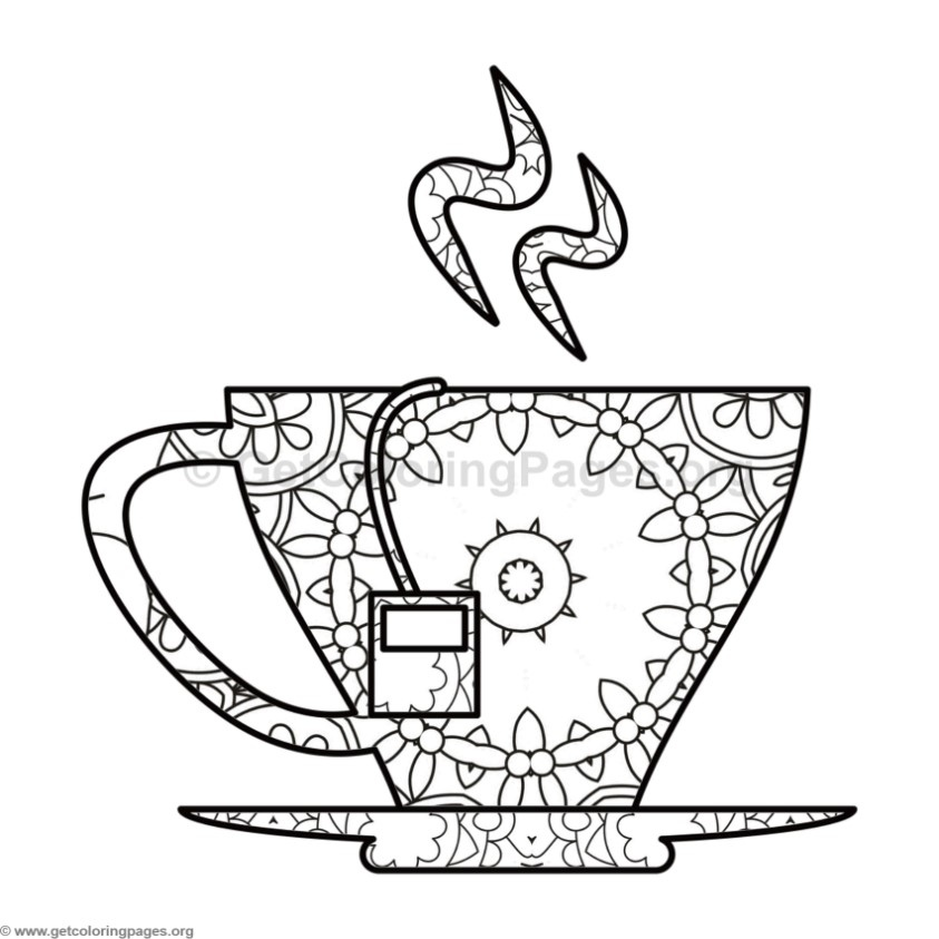 843x843 Tea Cup Coloring Pages