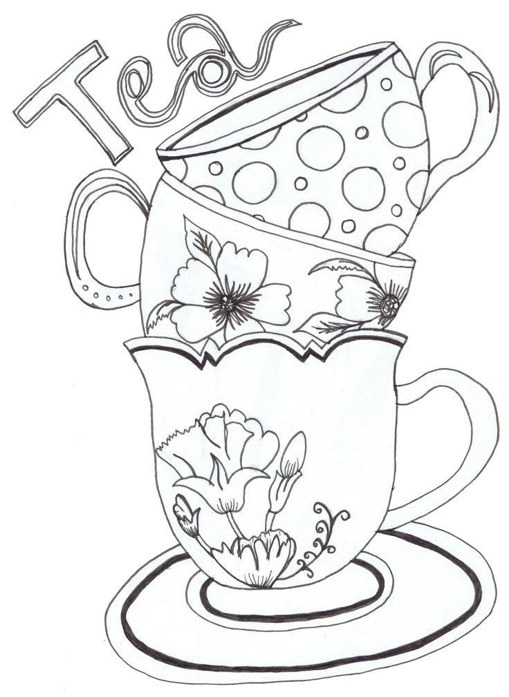 736x1009 Tea Cup Coloring Page Drawn Tea Cup Colouring Page Pencil