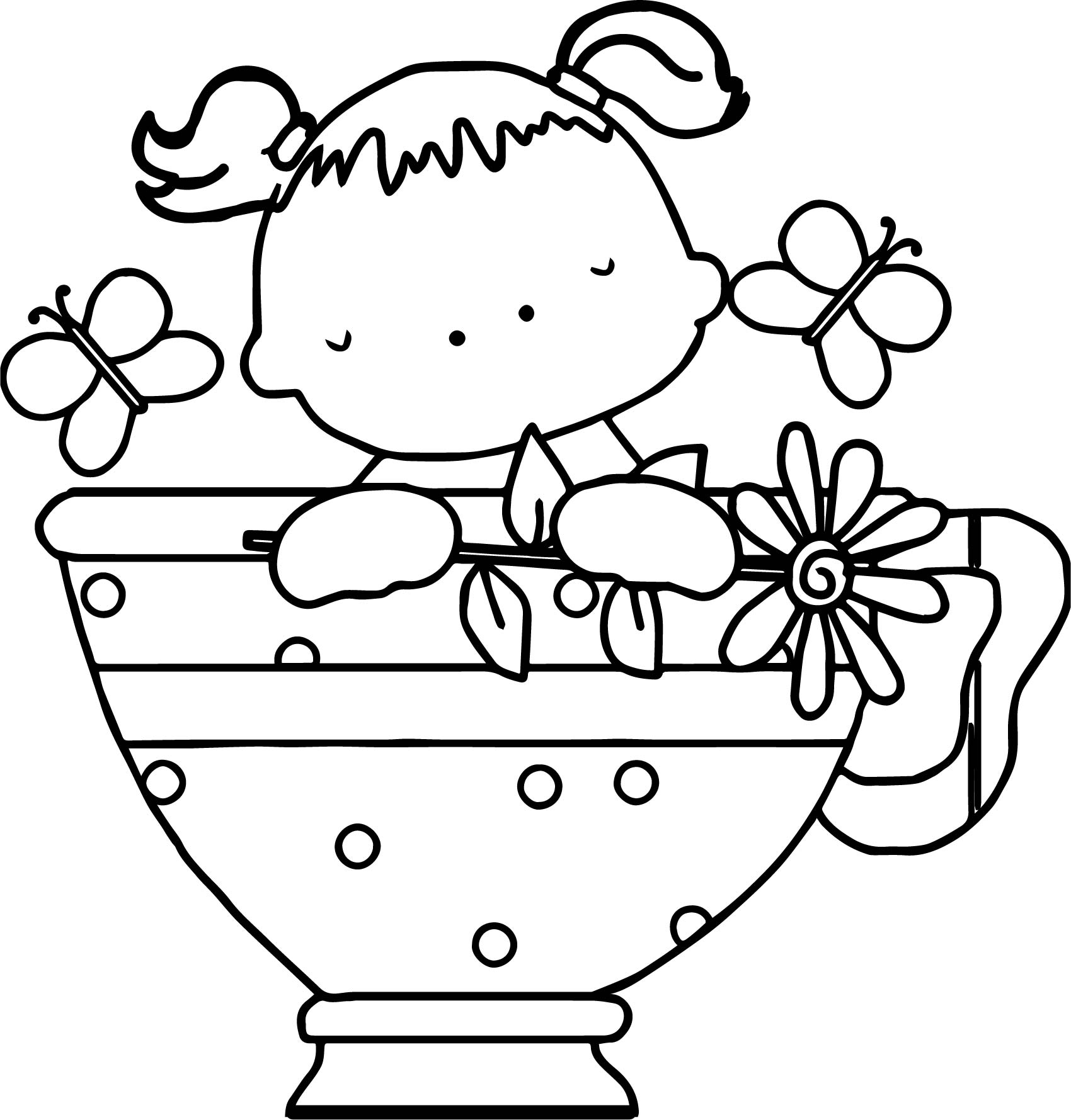 1700x1779 Baby Girl Tea Cup Butterfly Coloring Page Wecoloringpage