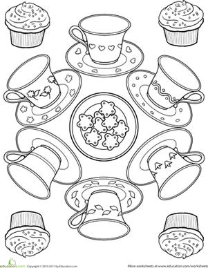 301x388 Fashionable Idea Tea Party Coloring Pages Teacup Page Mandalas