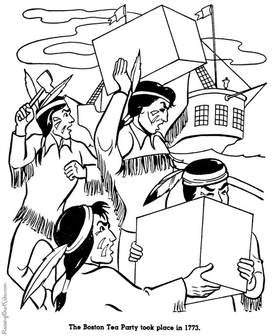 564x690 Coloring Pages Of The Boston Tea Party Boston Tea Party Coloring