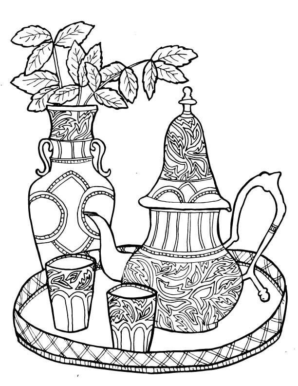 612x792 Tea Coloring Pages Moroccan Tea Set At Tea Coloring Pages