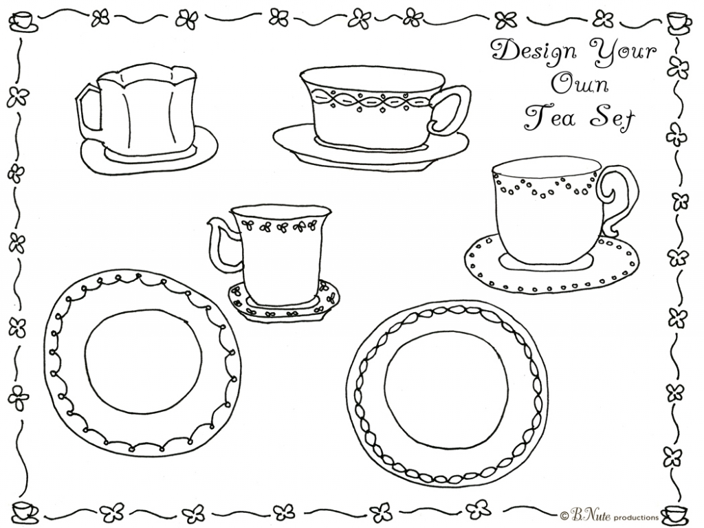 1024x768 Tea Cup Coloring Sheet Your Own Set Pages And You Have Instant Fun