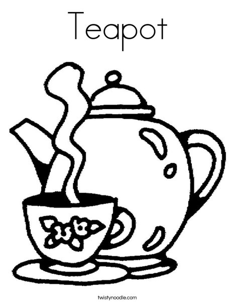 468x605 Teapot Coloring Page
