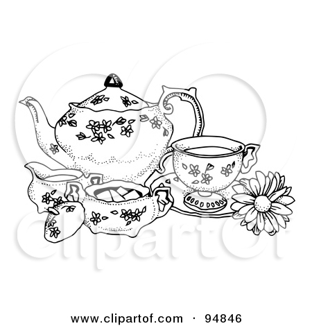 450x470 Girl Tea Party Cartoon Poster,rt Print Cartoon Girl Having