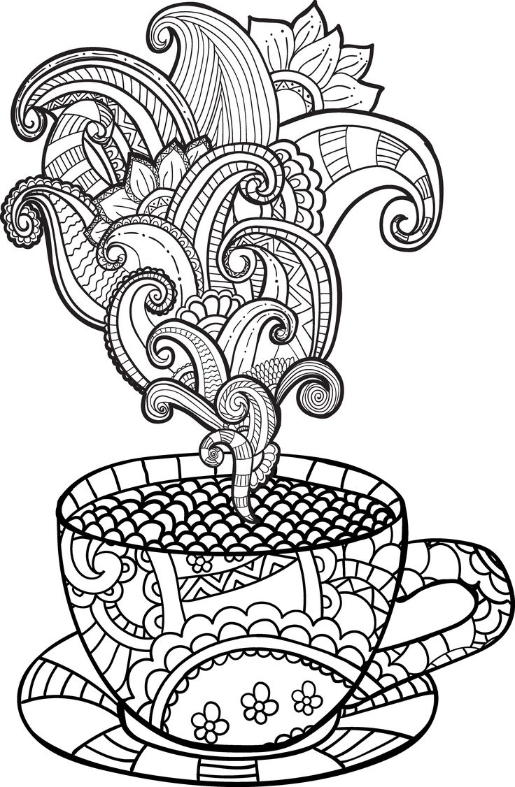 736x1126 Awesome Tea Set Coloring Page Design Printable Coloring Sheet