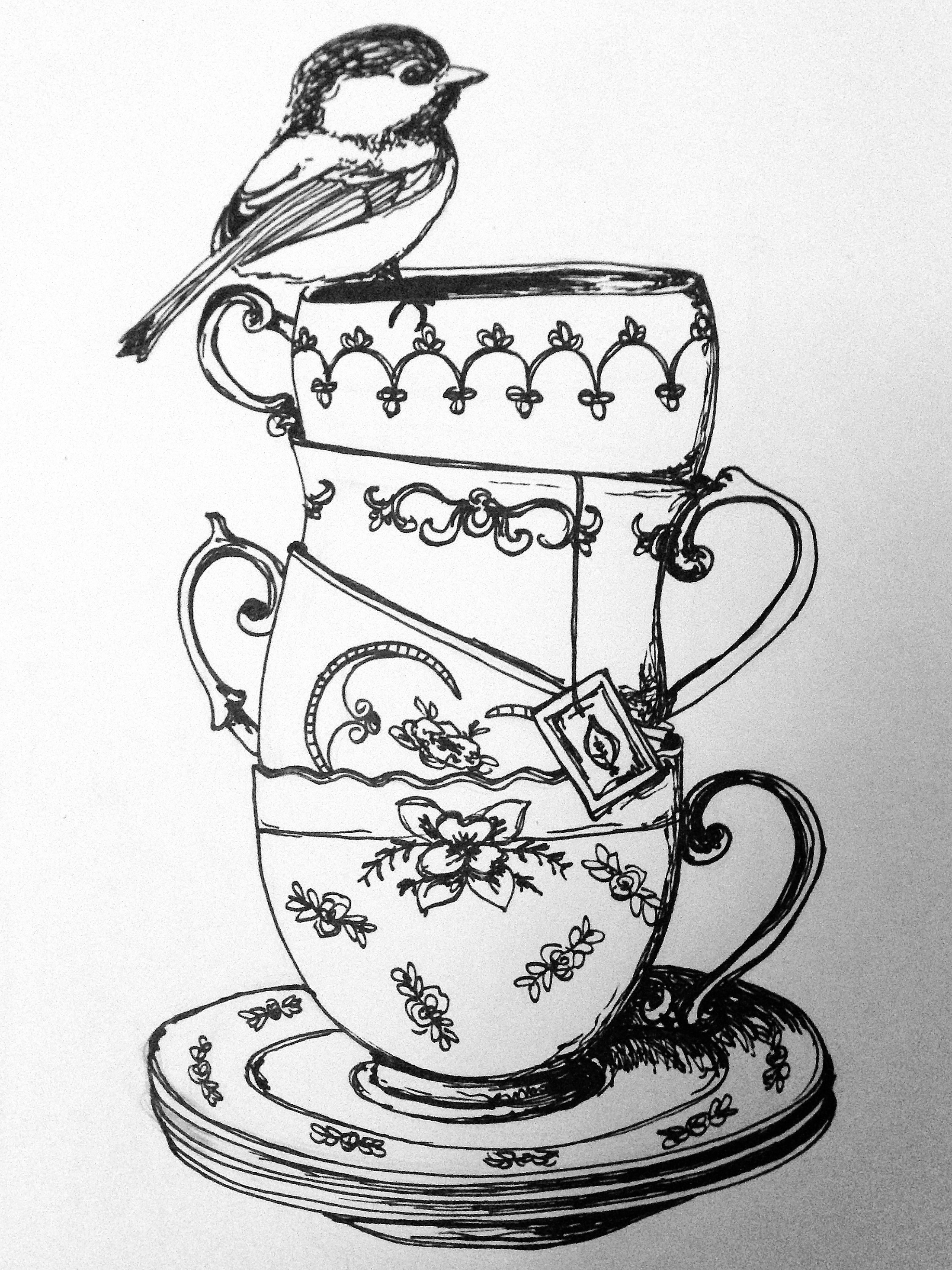 2201x2934 From Who Is This!! Pretty Teacups Sketch Please Let Me Know