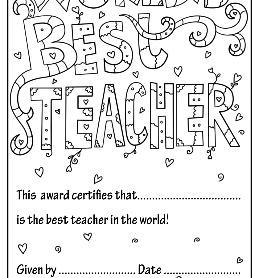 840x900 Teacher Appreciation Coloring Pages Wallpaper For Kids Free
