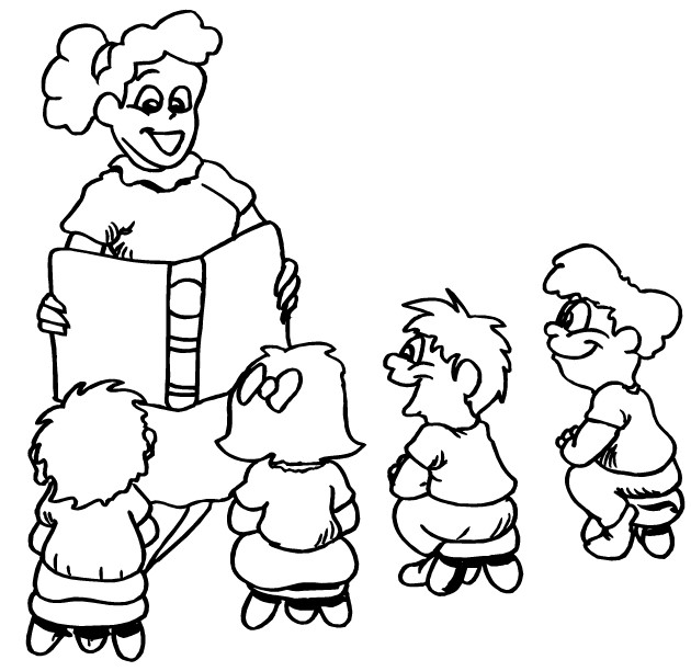 630x612 Teacher And Children Coloring Pages