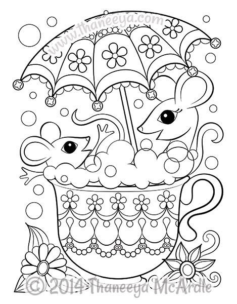 469x600 Mice In Teacup Coloring Page Coloring Books Printable