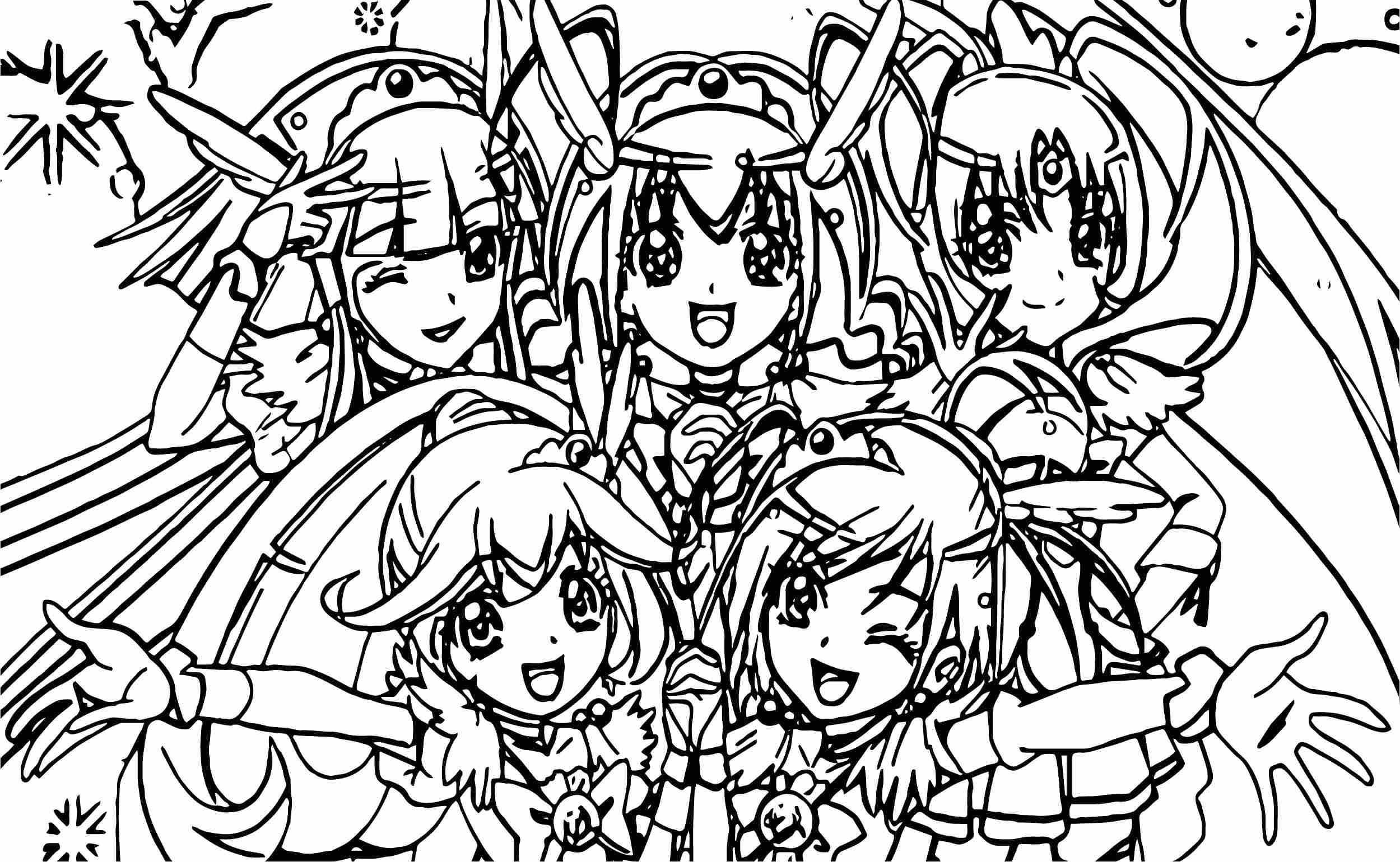 2499x1540 Glitter Force Girls Team Coloring Page Pages For Kids Online