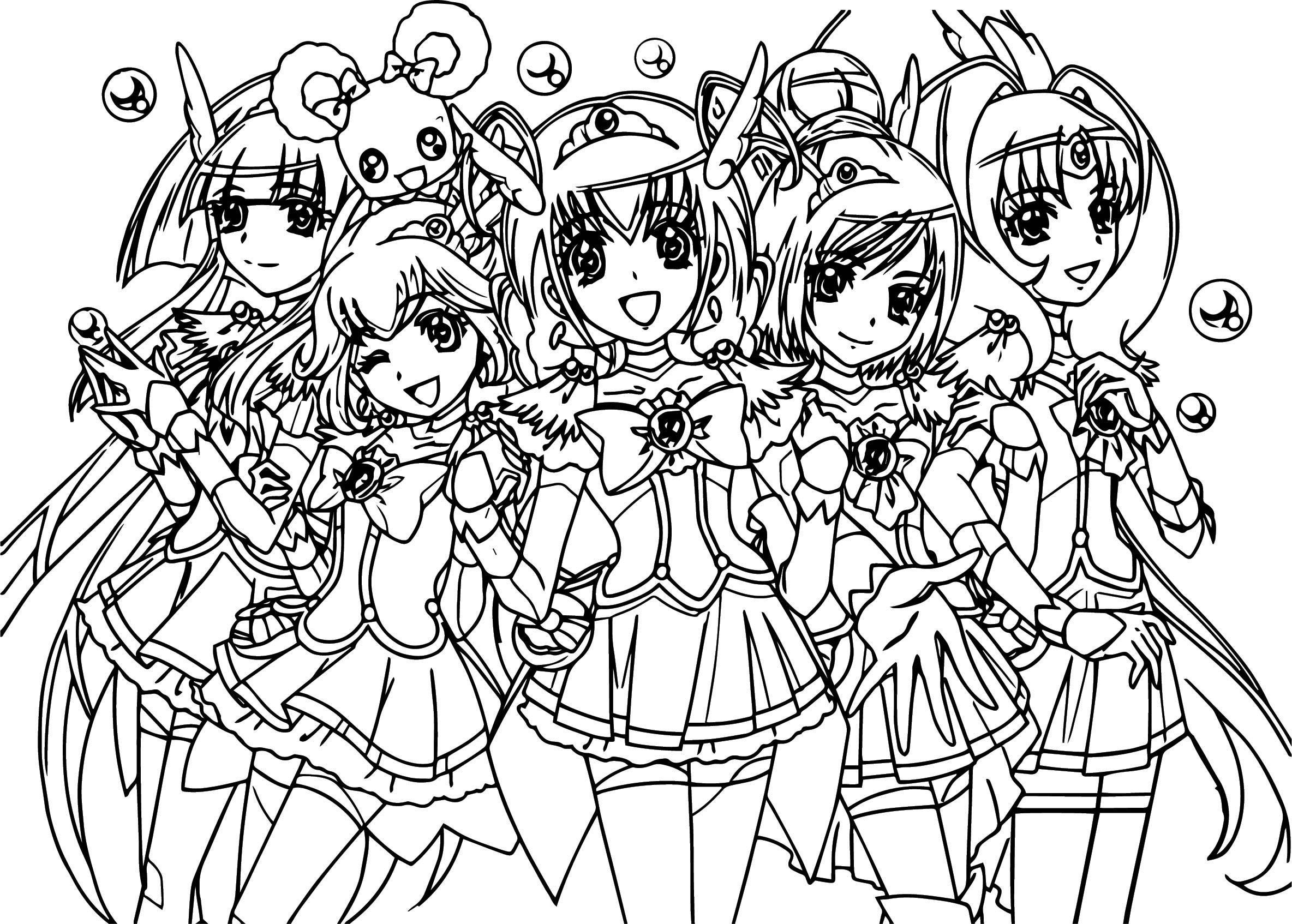 2368x1694 Smile Precure Glitter Force Team Coloring Page Gallery Of Pages