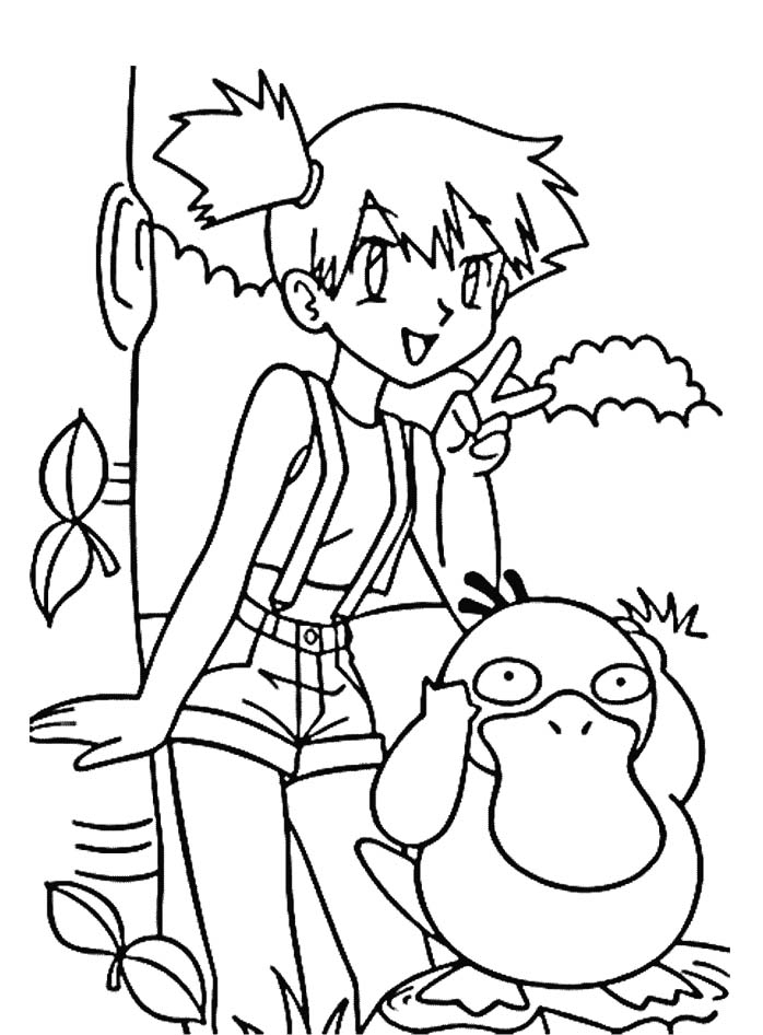 698x946 Misty And Psyduck Coloring Page Pokemon Pokemon