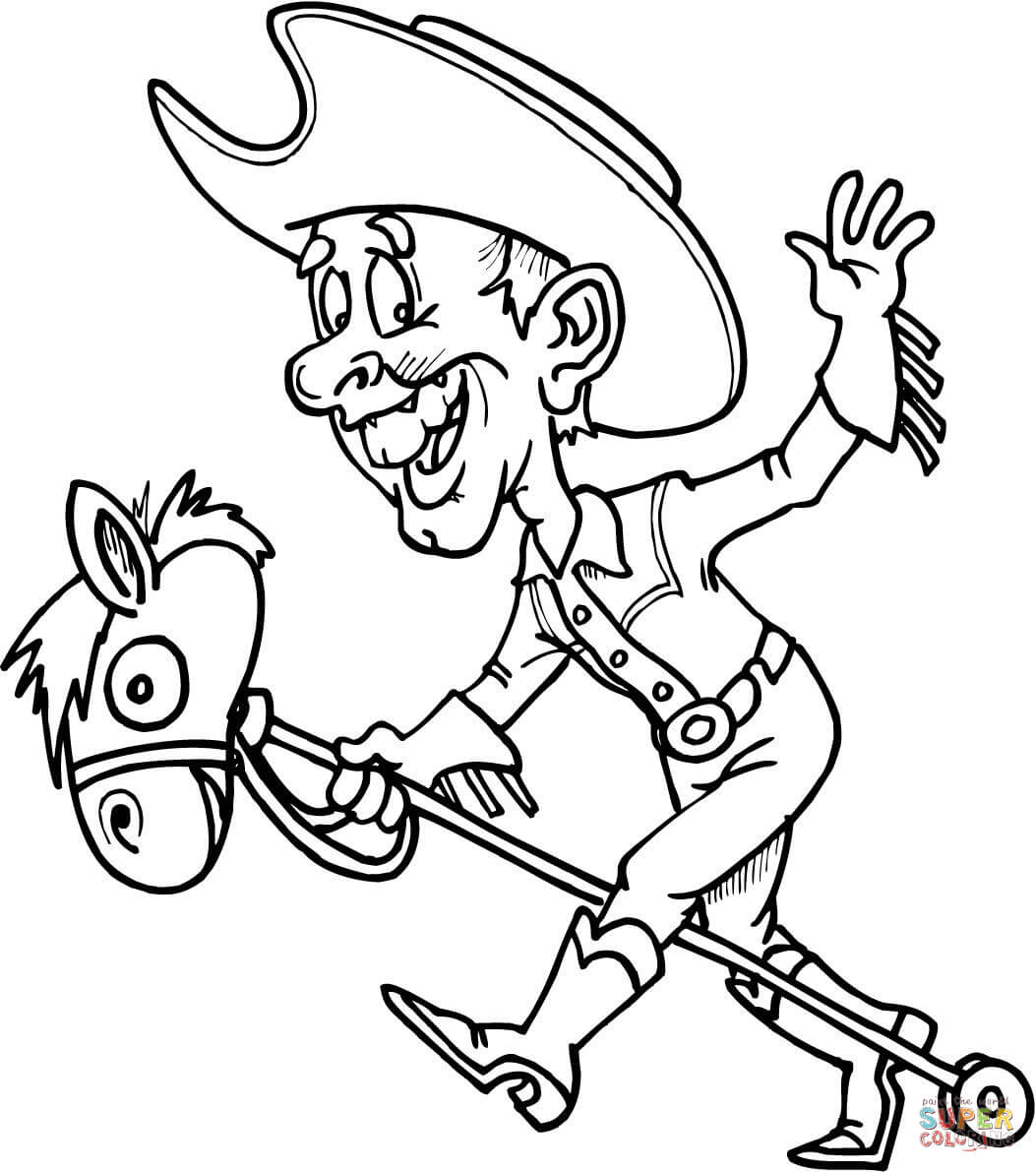 1053x1191 Cowboy On A Toy Horse Coloring Page Pages