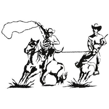350x350 Team Roping Outline Embroidery Design Annthegran