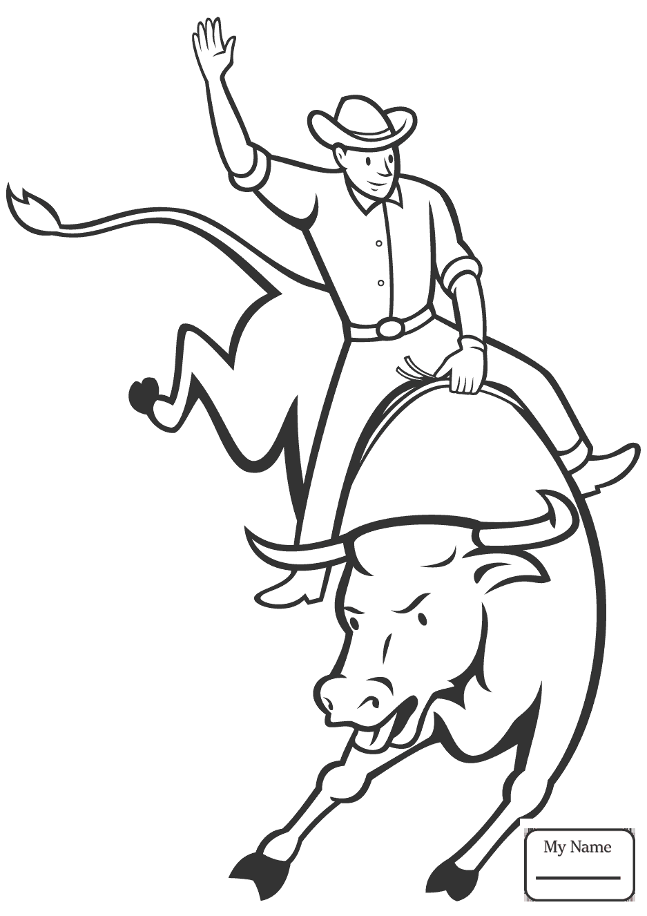 937x1326 Tested Bucking Bull Coloring Pages Com
