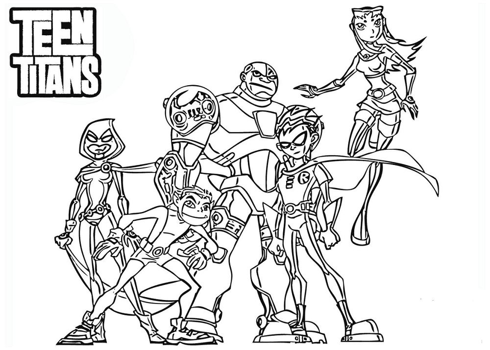 1000x715 Free Printable Teen Titans Coloring Pages