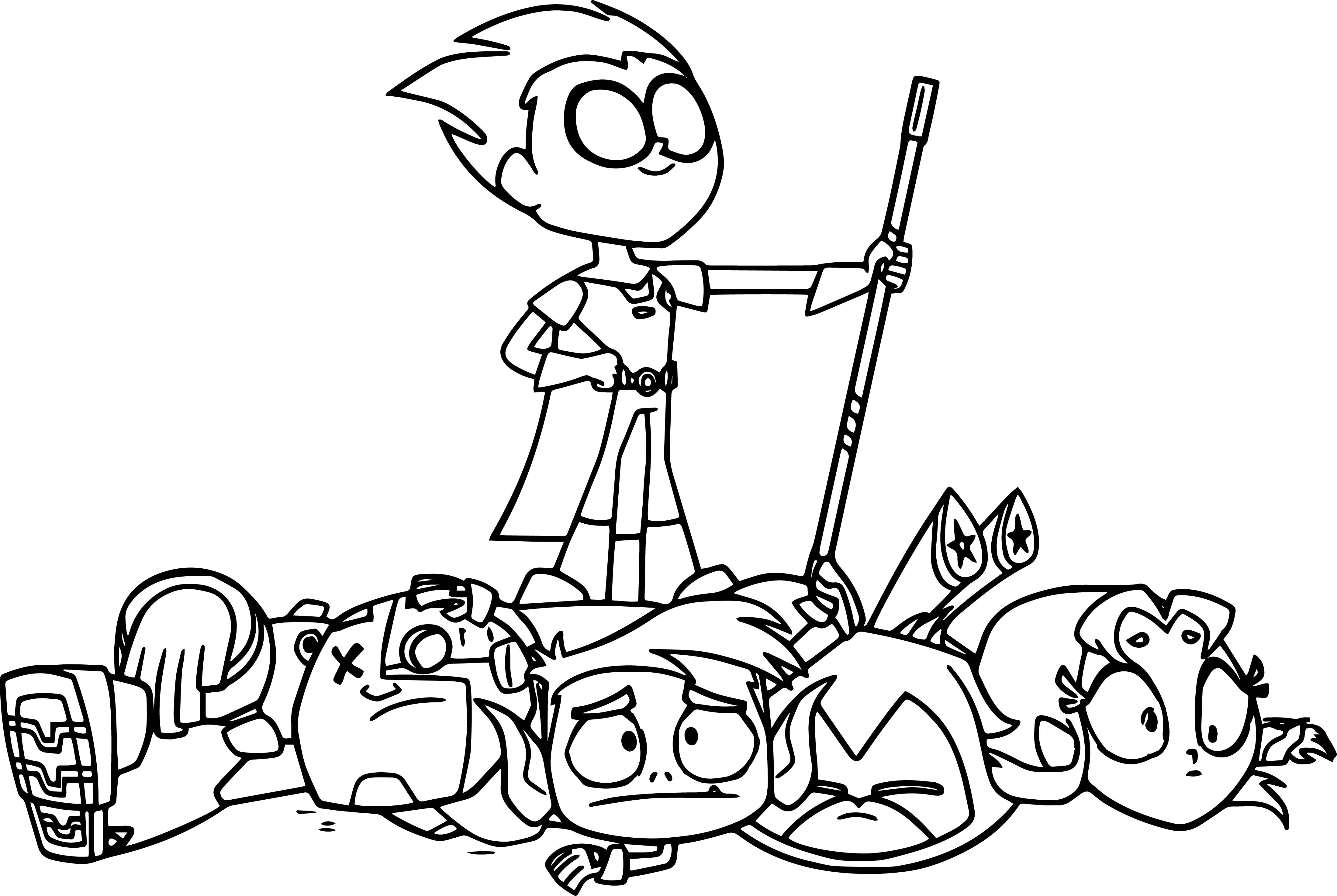 4398x2948 Teen Titans Go Coloring Page