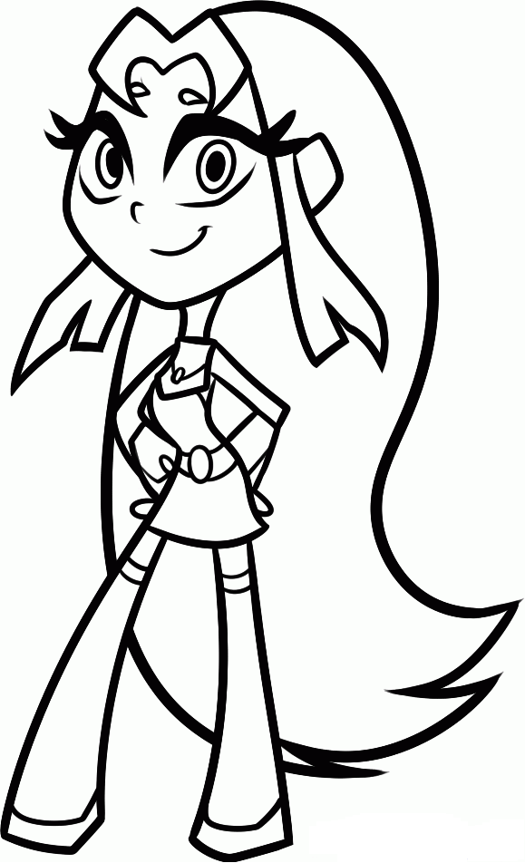 579x952 Teen Titans Go Coloring Pages Starfire Coloring Kids Dc Super