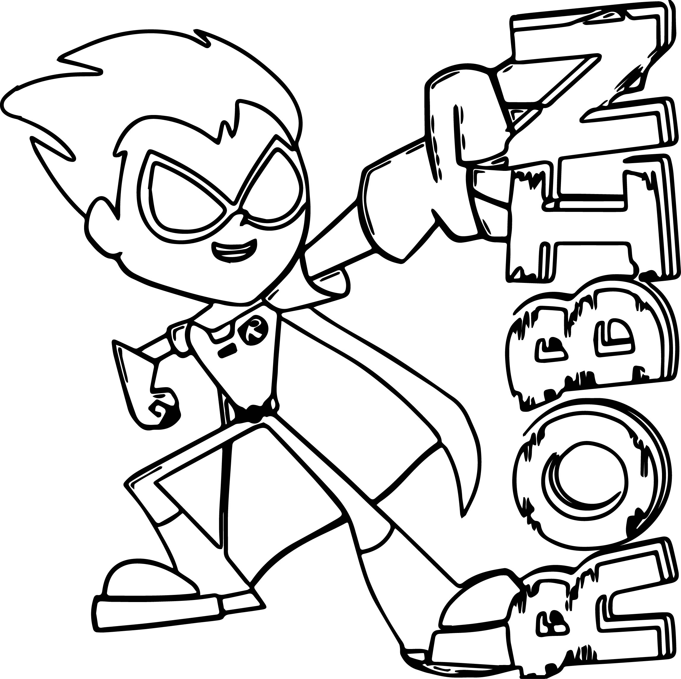 2292x2285 Teen Titans Go Coloring Pages Free Books Within Page
