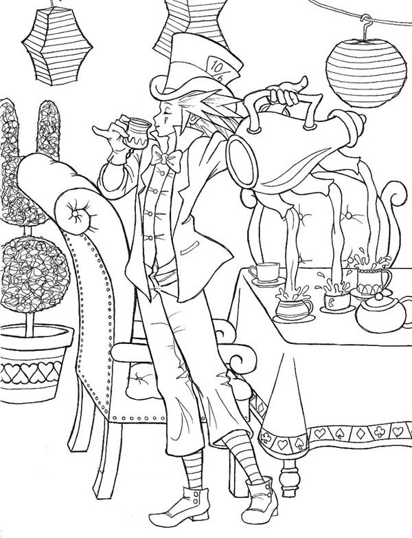 600x782 Amazing Mad Hatter And Three Hole Teapot Coloring Page Color Luna