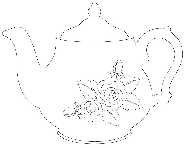 Teapot and Cup Of Tea with cookies coloring page   Free Printable ...   515x648