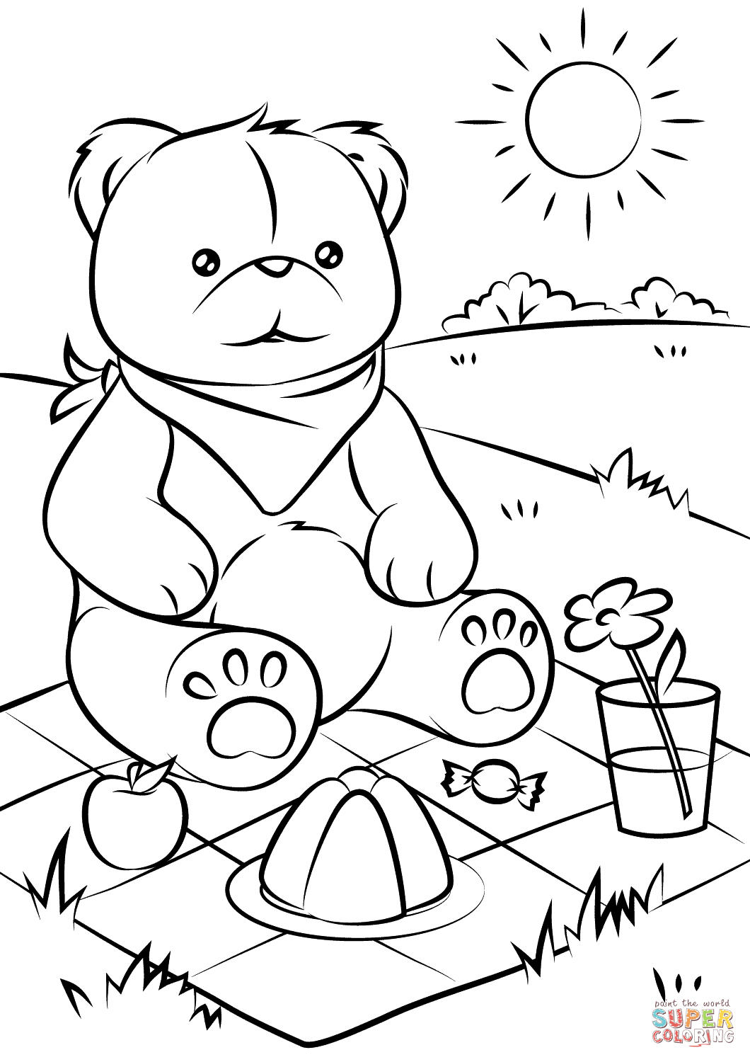 1060x1500 Coloring Page Teddy Bear Bears Picnic Free Printable Pages Arilitv