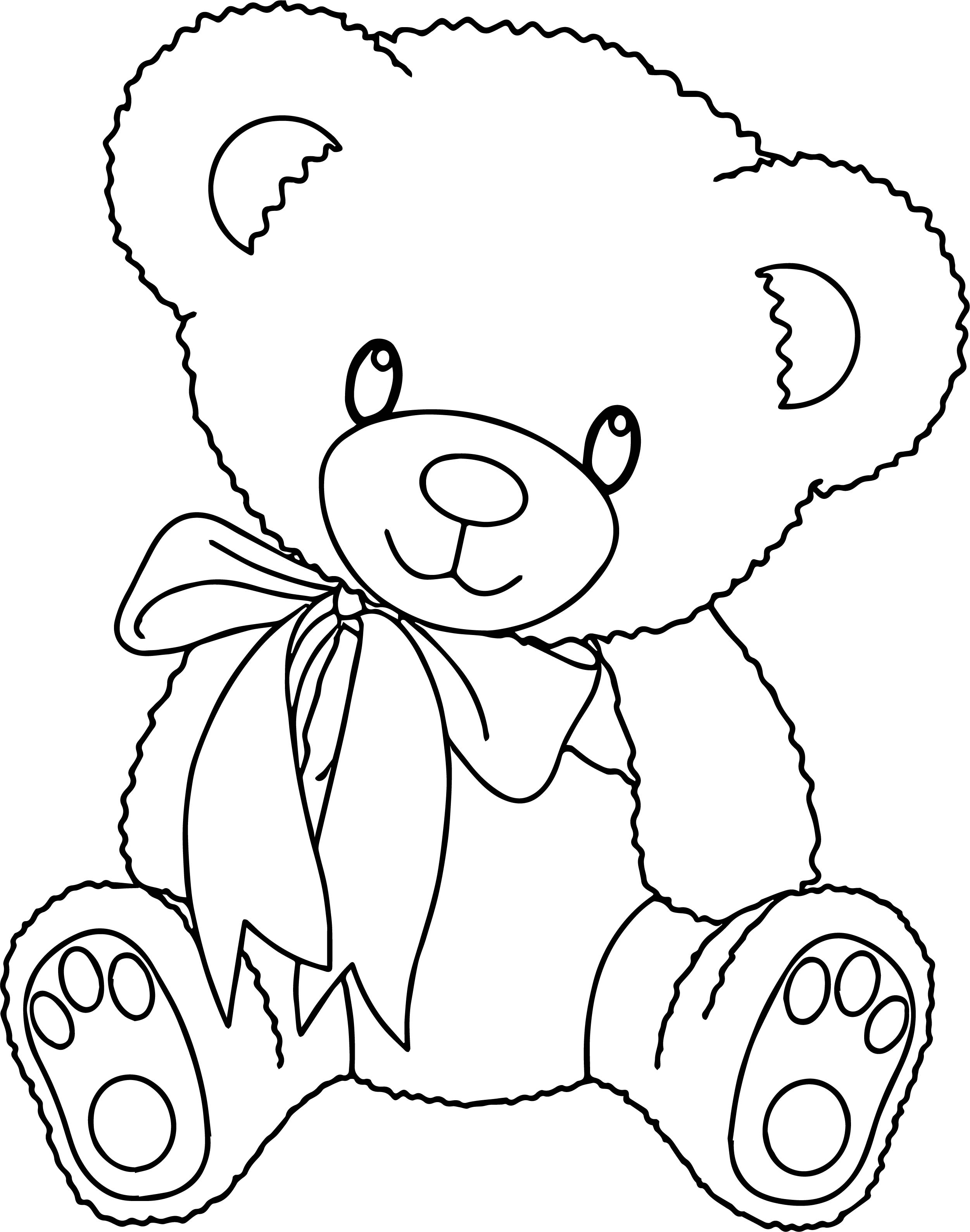2502x3178 Cute Bear With Heart Coloring Pages