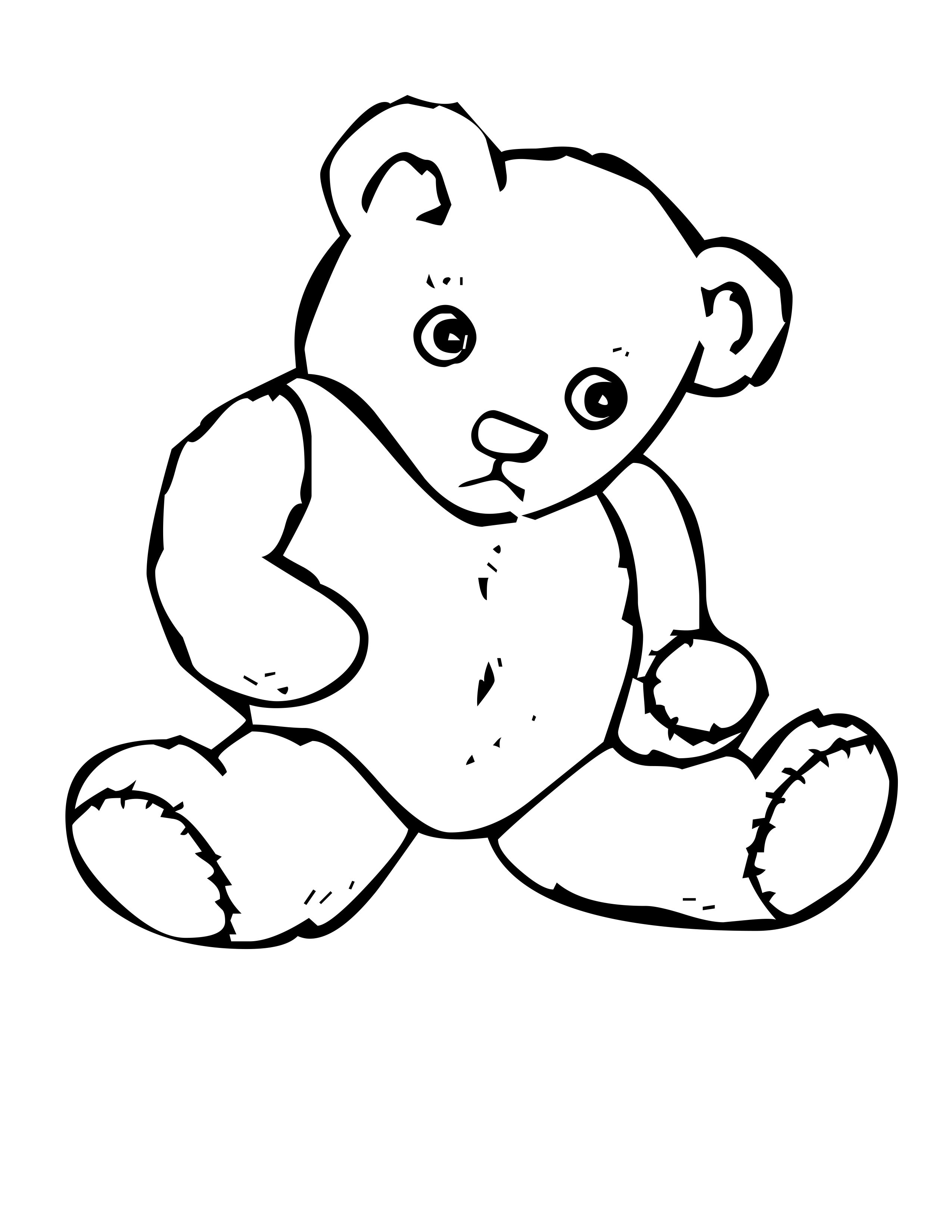 2550x3300 Teddy Bear With Heart Coloring Pages And Acpra