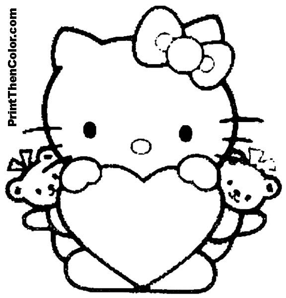 576x600 Children Coloringbookhellokitty Holding A Heart With Two Little
