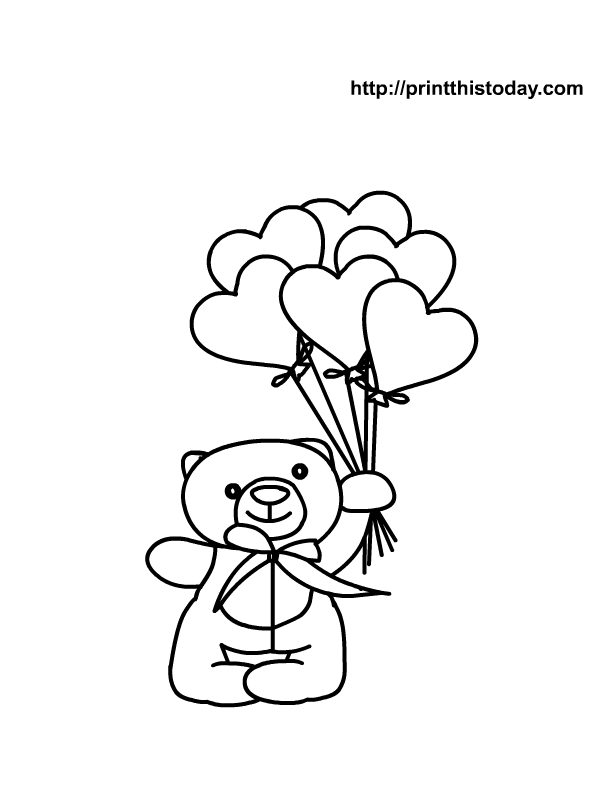 612x792 Free Printable Heart Coloring Page With Teddy Bear, Teddy Bear