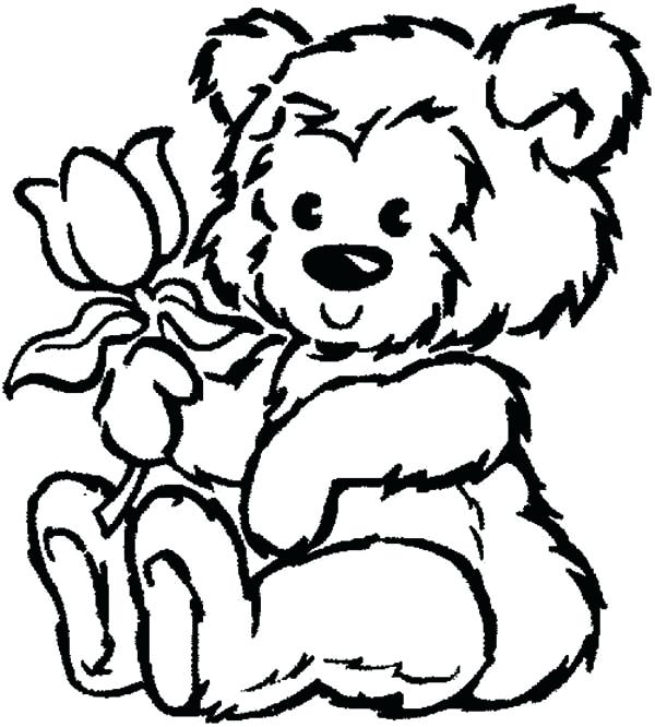 600x666 Teddy Bear Holding A Heart Coloring Pages