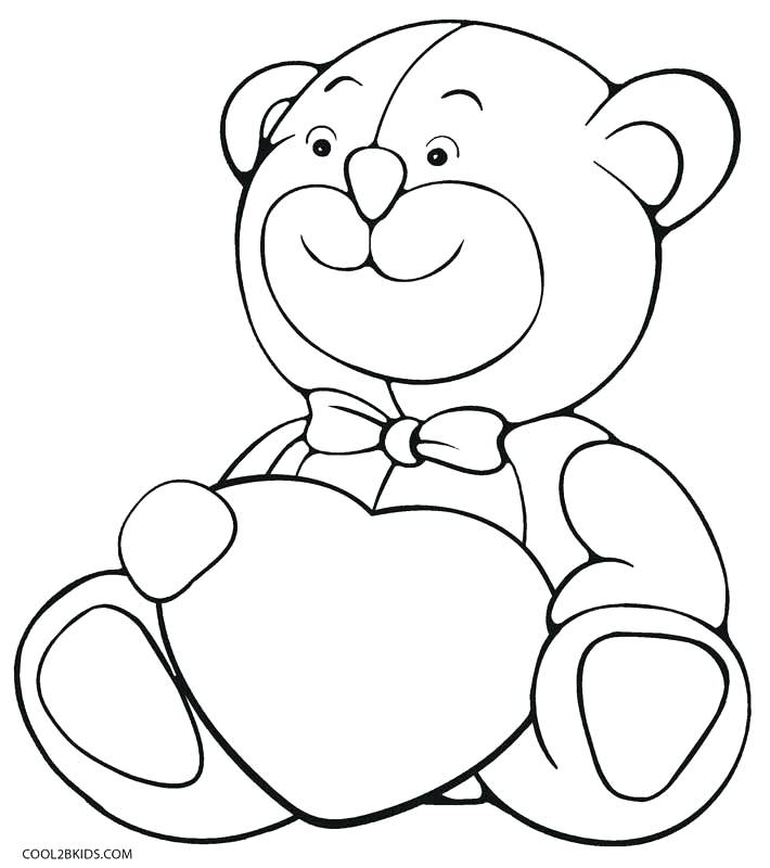 710x800 Coloring Pages Teddy Bears Teddy Bear With Heart Coloring Pages