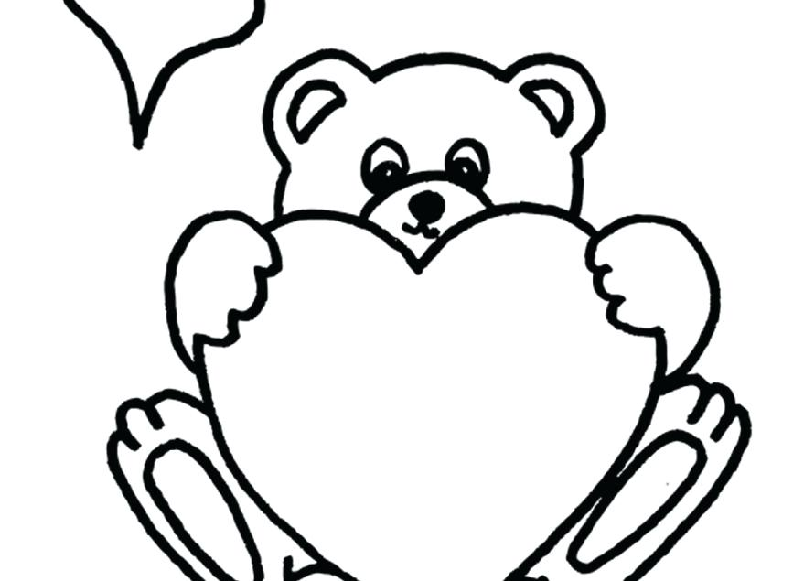 879x635 Teddy Bear Heart Coloring Pages Hearts Printable Soft And Sheets