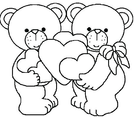 456x400 Teddy Bear Heart Coloring Pages Printable
