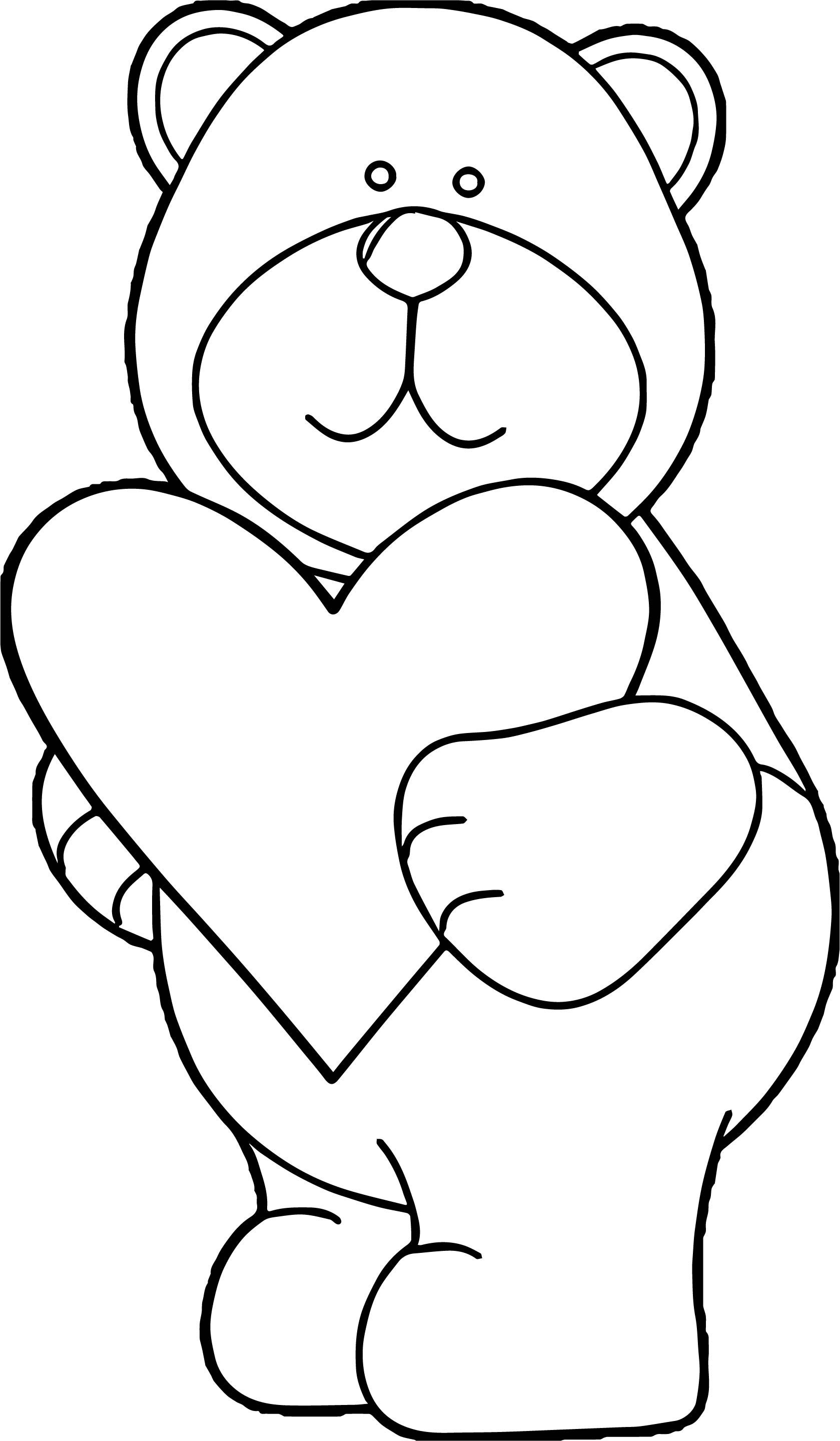 1679x2880 Teddy Bear Holding A Heart Coloring Pages