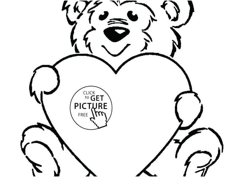 827x609 Teddy Bear With Heart Coloring Pages Free Coloring Human Heart