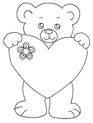 302x400 Teddy Bear With Heart Coloring Pages Love Heart Coloring Pages