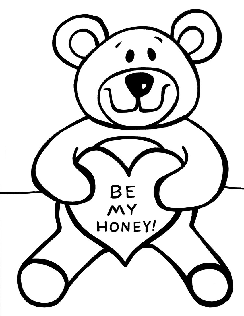 850x1100 Teddy Bear With Heart Coloring Pages