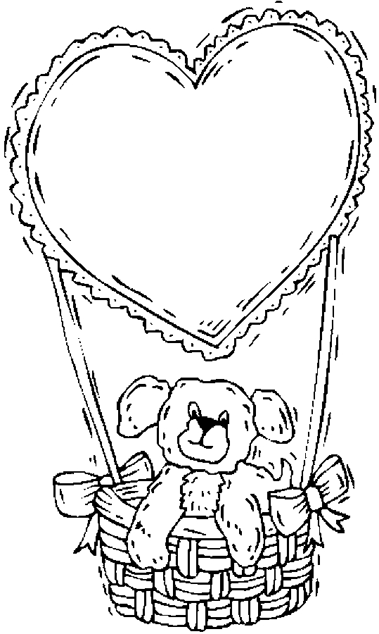 539x900 Teddy Bear Ampamp Heart Balloon Coloring Page
